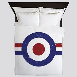 Aged Faded mod target and stripes Queen Duvet