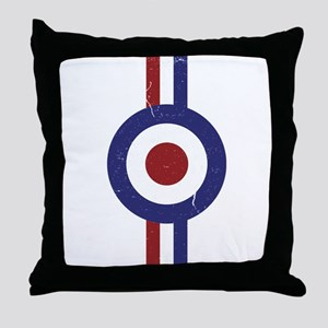Aged and Faded Mod Target Stripes Throw Pillow