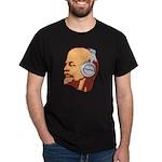 Lenin wearing heaphones Black T-Shirt
