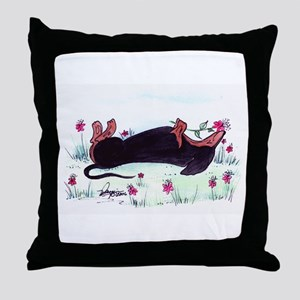 Dachshund enjoying flowers Throw Pillow