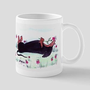 Dachshund enjoying flowers Mug