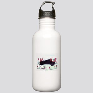 Dachshund enjoying flowers Stainless Water Bottle