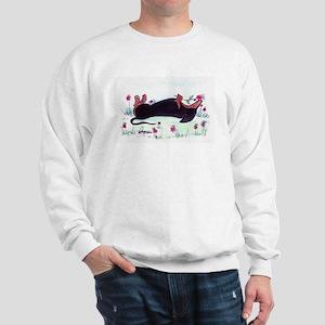 Dachshund enjoying flowers Sweatshirt