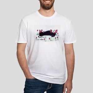 Dachshund enjoying flowers Fitted T-Shirt
