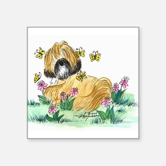 "Lhasa Apso surrounded Square Sticker 3"" x 3"""