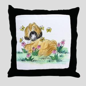 Lhasa Apso surrounded Throw Pillow