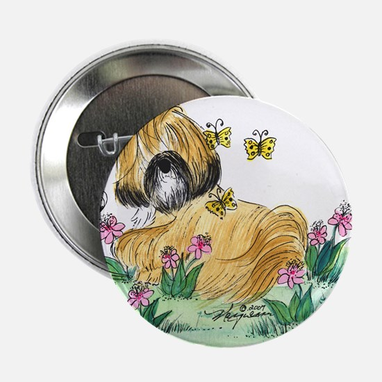"Lhasa Apso surrounded 2.25"" Button"