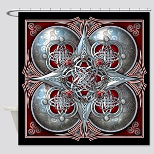 Silver & Red Celtic Tapestry Shower Curtain