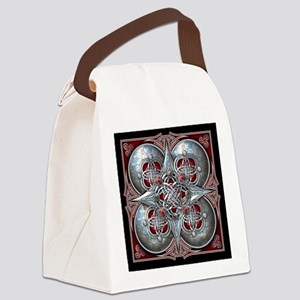 Silver & Red Celtic Tapestry Canvas Lunch Bag