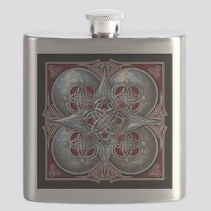 Silver & Red Celtic Tapestry Flask