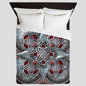 Silver & Red Celtic Tapestry Queen Duvet
