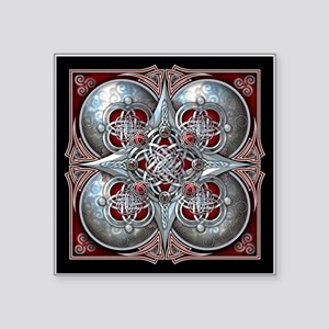 "Silver & Red Celtic Tapestry Square Sticker 3"" x 3"