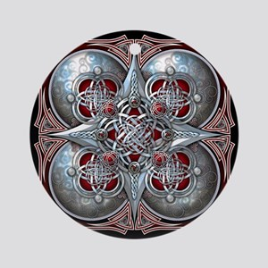 Silver & Red Celtic Tapestry Ornament (Round)