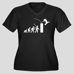 Parkour Women's Plus Size V-Neck Dark T-Shirt