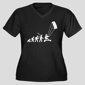 Landboarding Women's Plus Size V-Neck Dark T-Shirt