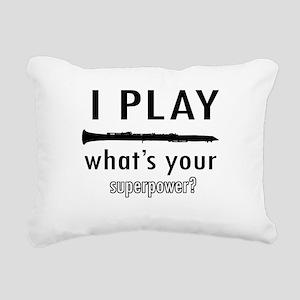 Cool Clarinet Designs Rectangular Canvas Pillow