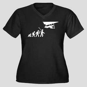Hang Gliding Women's Plus Size V-Neck Dark T-Shirt