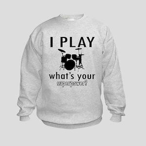 Cool Drums Designs Kids Sweatshirt