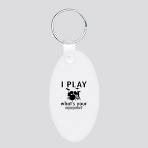 Cool Drums Designs Aluminum Oval Keychain
