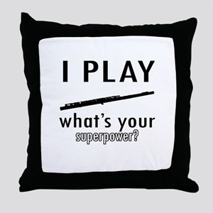 Cool Flute Designs Throw Pillow