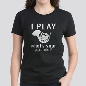 Cool French Horn Designs Women's Dark T-Shirt