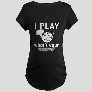 Cool French Horn Designs Maternity Dark T-Shirt