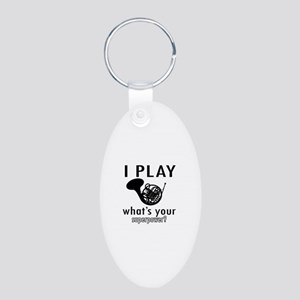 Cool French Horn Designs Aluminum Oval Keychain