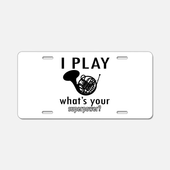 Cool French Horn Designs Aluminum License Plate