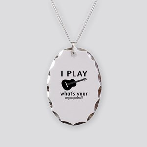 Cool Guitar Designs Necklace Oval Charm