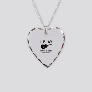 Cool Guitar Designs Necklace Heart Charm