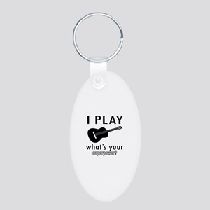 Cool Guitar Designs Aluminum Oval Keychain