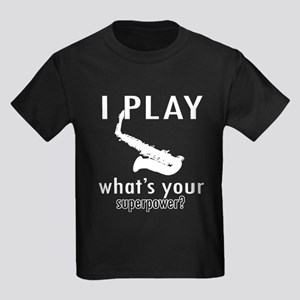 Cool Saxophone Designs Kids Dark T-Shirt