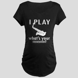 Cool Saxophone Designs Maternity Dark T-Shirt