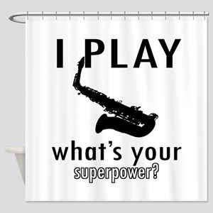 Cool Saxophone Designs Shower Curtain