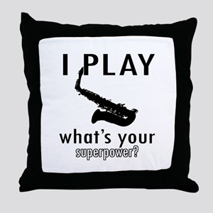Cool Saxophone Designs Throw Pillow