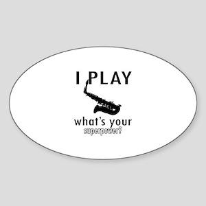 Cool Saxophone Designs Sticker (Oval)