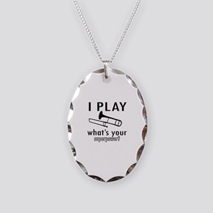 Cool Trombone Designs Necklace Oval Charm