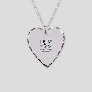 Cool Trombone Designs Necklace Heart Charm