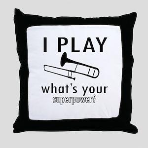 Cool Trombone Designs Throw Pillow