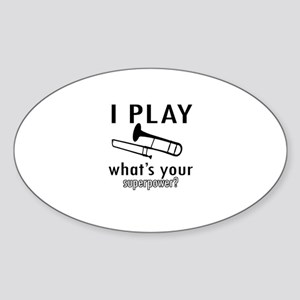 Cool Trombone Designs Sticker (Oval)