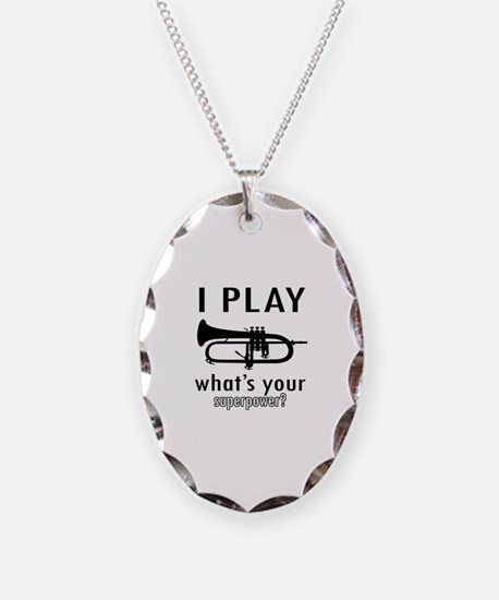 Cool Trumpet Designs Necklace Oval Charm