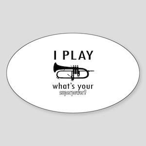Cool Trumpet Designs Sticker (Oval)
