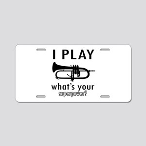 Cool Trumpet Designs Aluminum License Plate