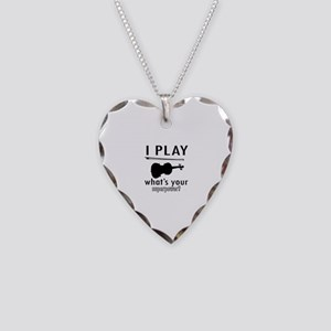 Cool Violin Designs Necklace Heart Charm