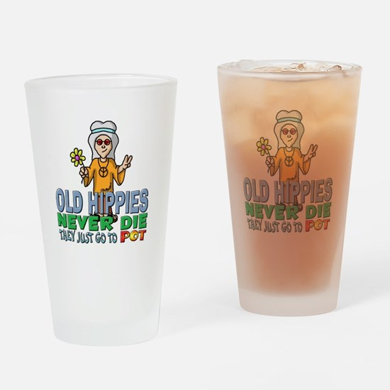 Hippies Drinking Glass