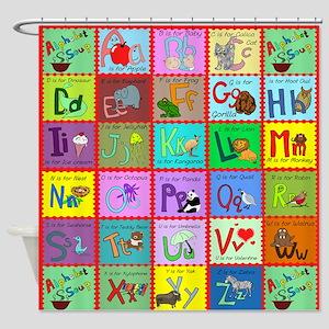 alphabet soup creations Shower Curtain