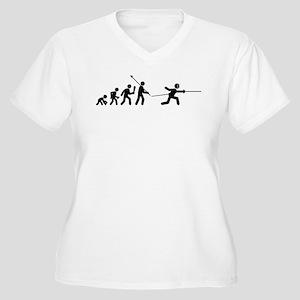 Fencing Women's Plus Size V-Neck T-Shirt