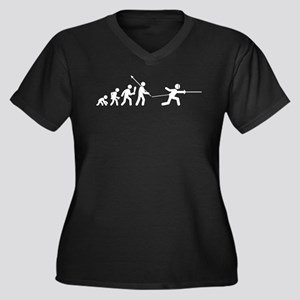 Fencing Women's Plus Size V-Neck Dark T-Shirt