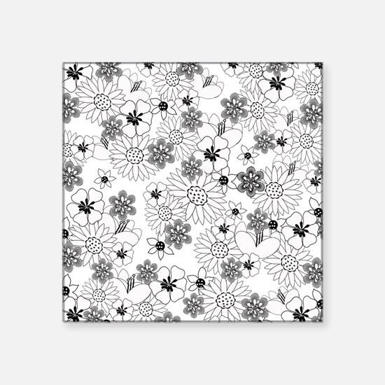 "Black and White Floral Square Sticker 3"" x 3"""