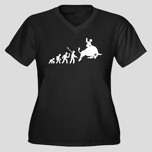 Bull Riding Women's Plus Size V-Neck Dark T-Shirt